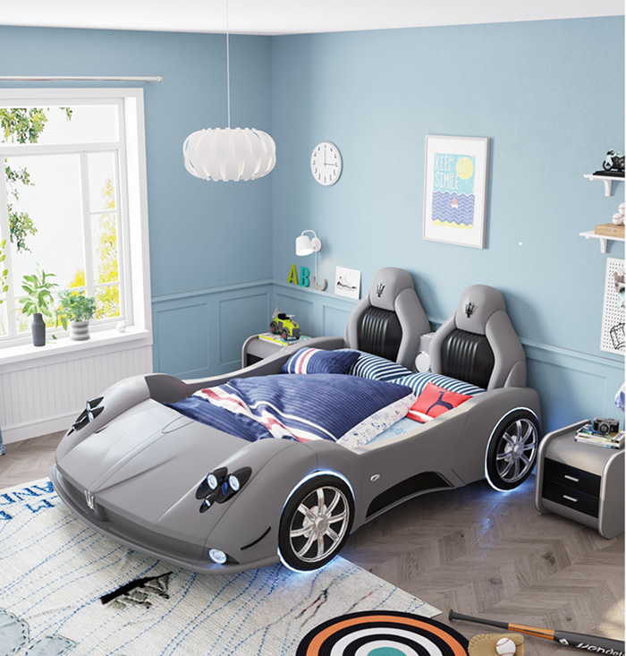 adult race car bed silver