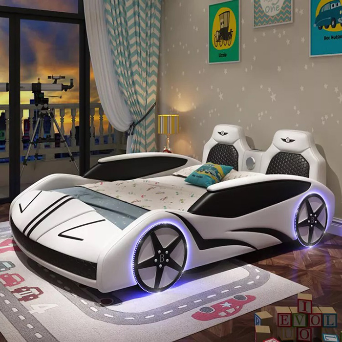 adult race car bed white