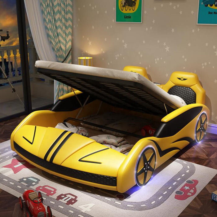 adult race car bed yellow with storage