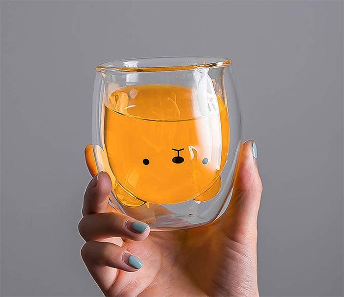 bear mug upside down head