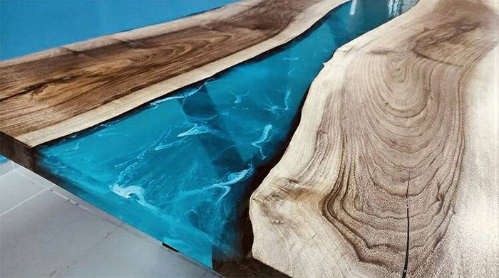 blue river epoxy table blue resin