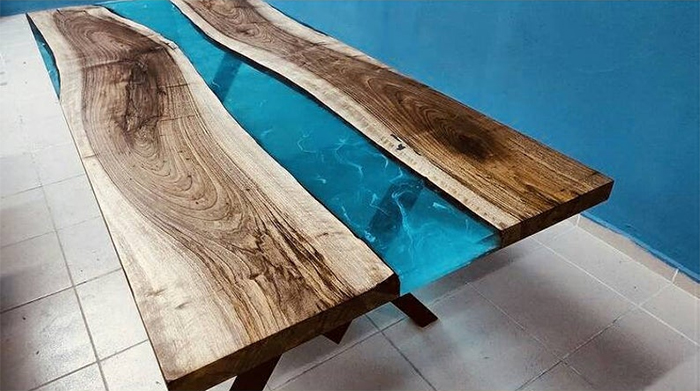 blue river epoxy table resin furniture