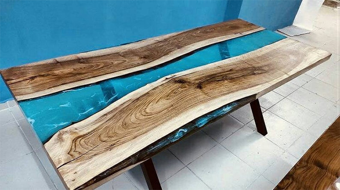 blue river epoxy table resin wooden planks