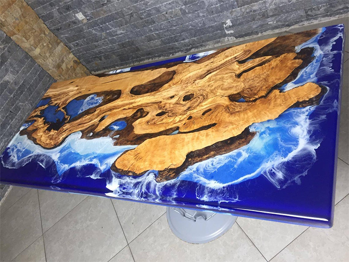 blue river epoxy table resin