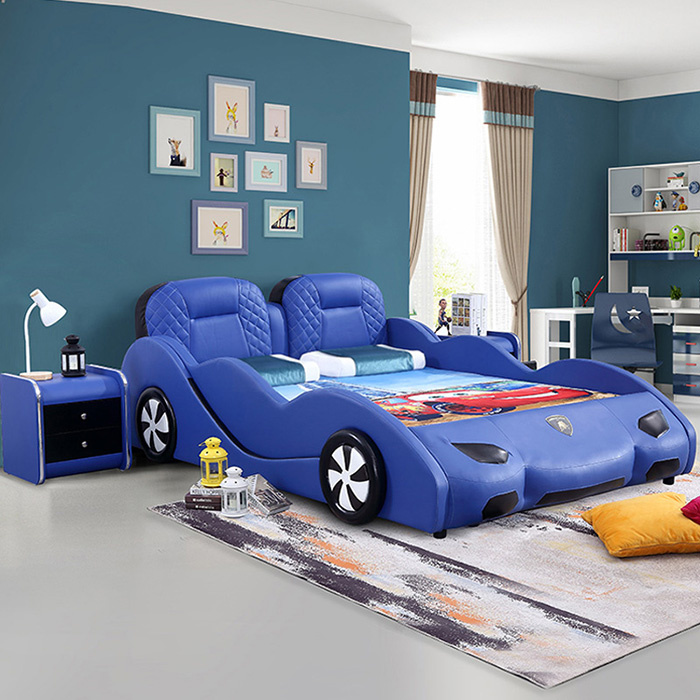 blue supercar bed for grownups