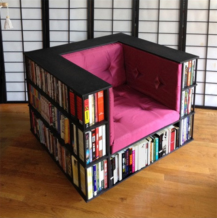 club lounger with integrated bookshelves