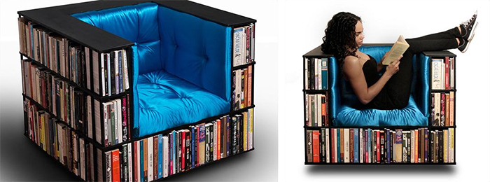 club lounger with integrated library