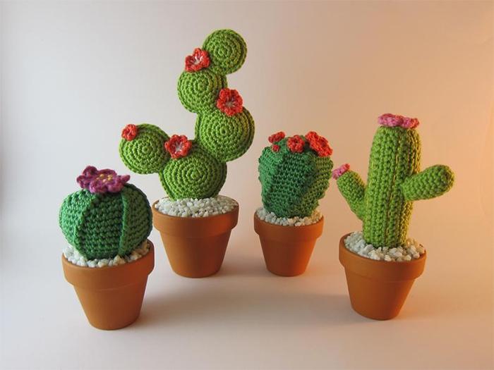 crochet cactus in clay pot