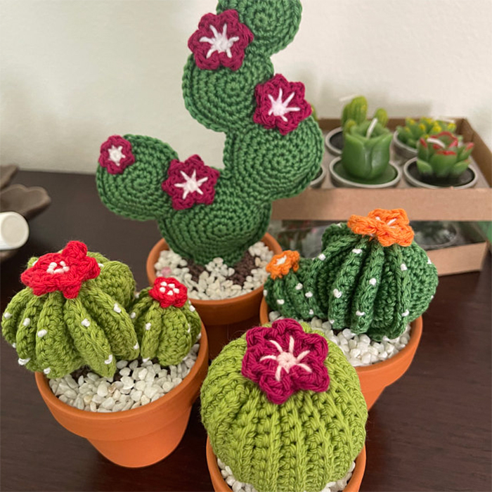 crochet cactus in pot with flowers