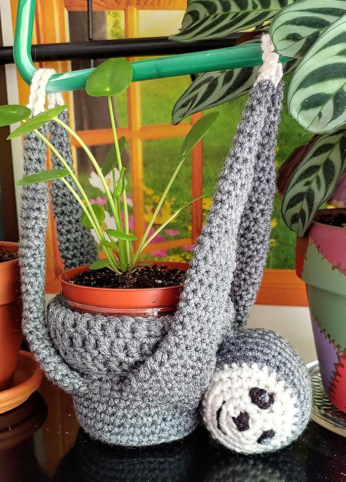 crochet hanging sloth plant holder