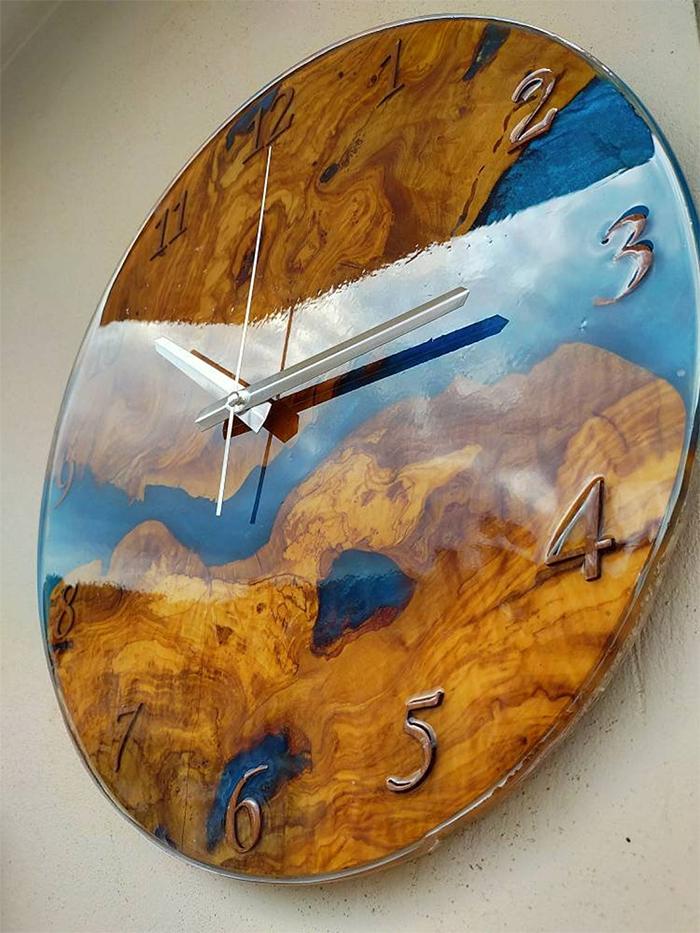 decorative epoxy river wall clock