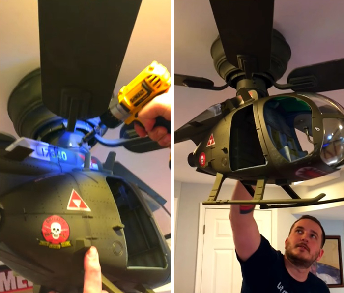 diy helicopter ceiling fan installation