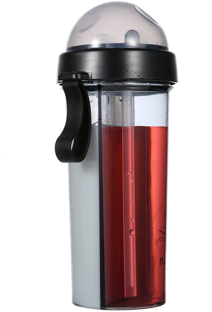 dual-chamber water bottle black