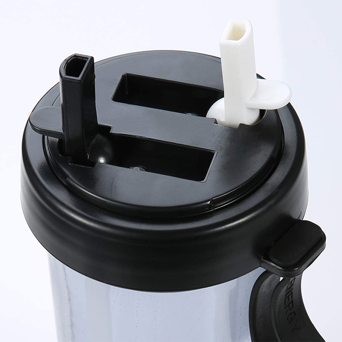 dual-chamber water bottle foldable straws