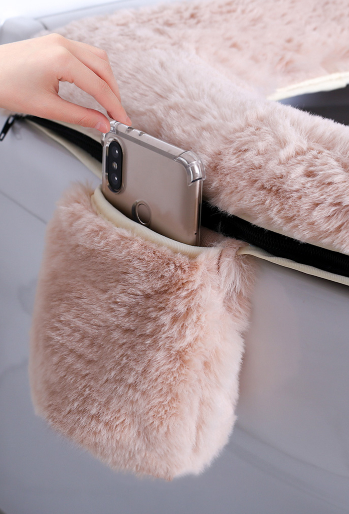 fluffy toilet seat cover with phone holder