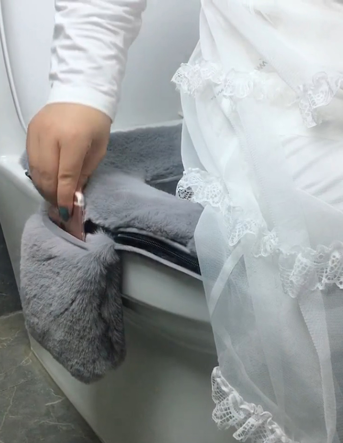 fluffy toilet seat cover with side phone holder