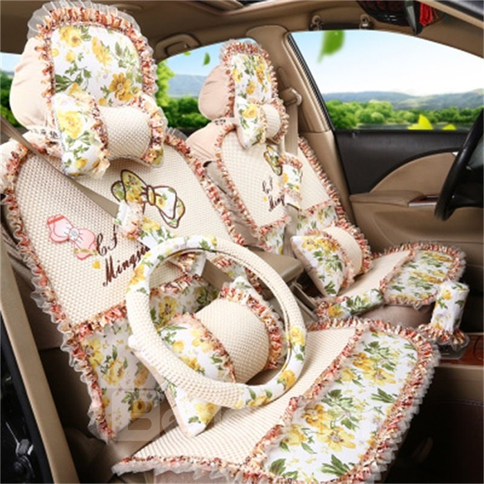 girly decorative seat covers beige