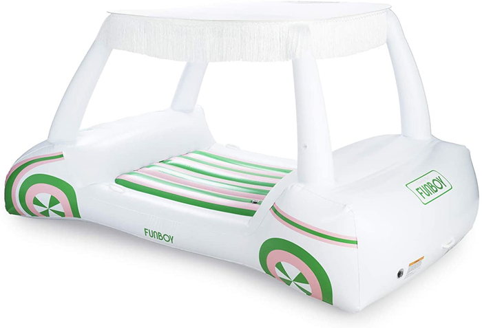 golf cart pool float with fringe lined canopy