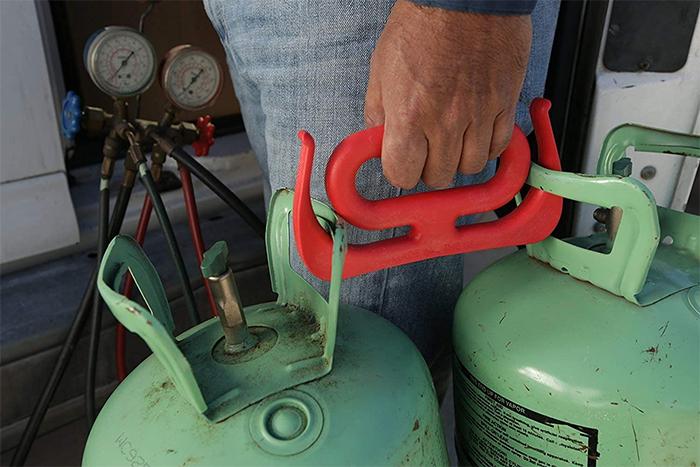 grocery bag handle on propane tanks
