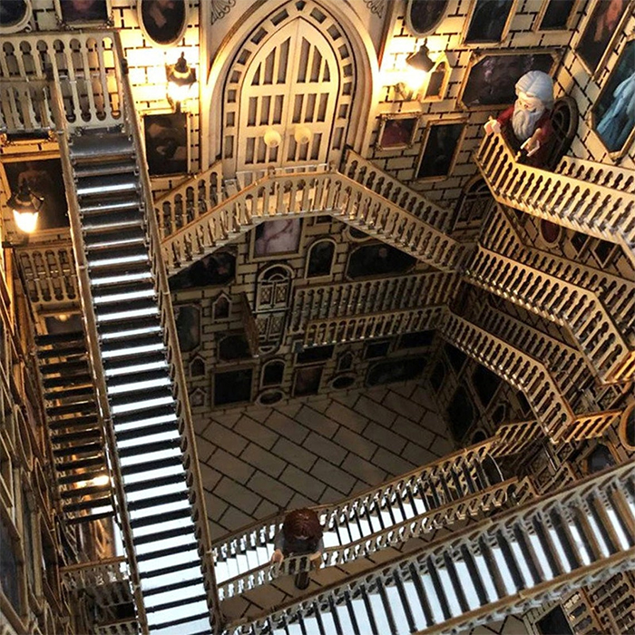 harry potter moving staircases wooden diorama