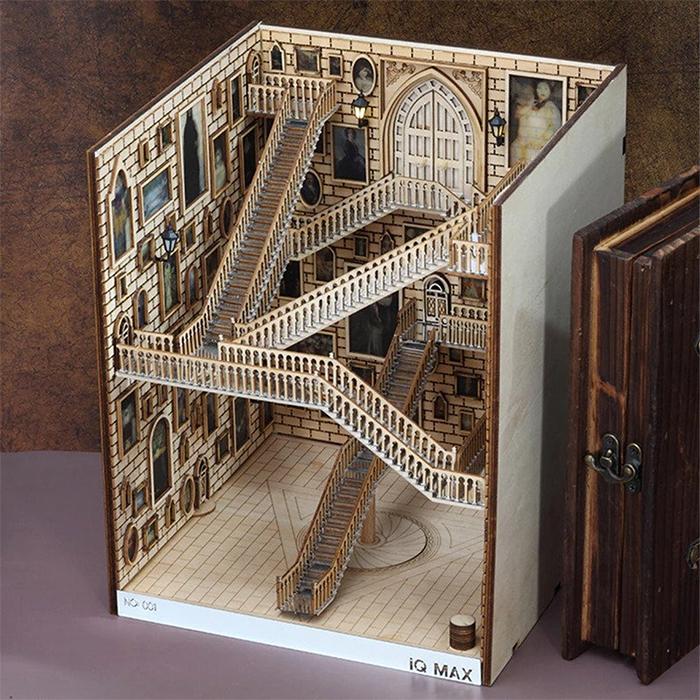 hogwarts-inspired book nook wooden diorama