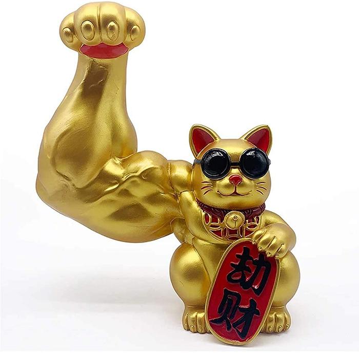 jacked waving cat statue golden
