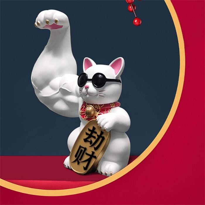 jacked waving cat statue white giant paw