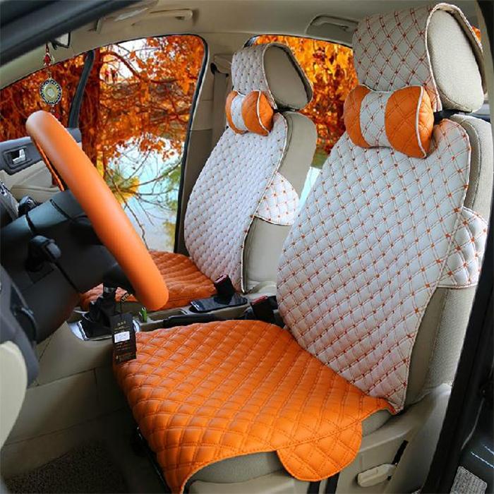 leather decorative seat covers orange-white