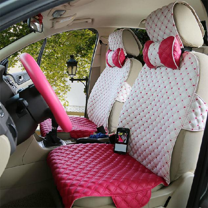 leather decorative seat covers pink-white
