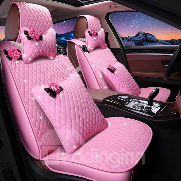 leather decorative seat covers pink