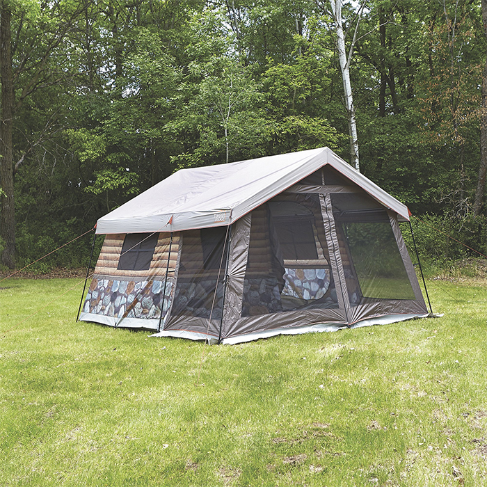 log cabin tent family camping