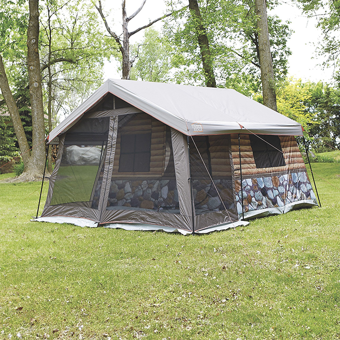 log cabin tent screened front porch