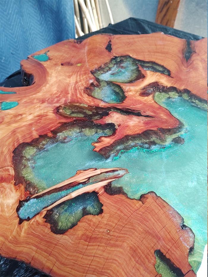 monterey cypress resin lake tabletop