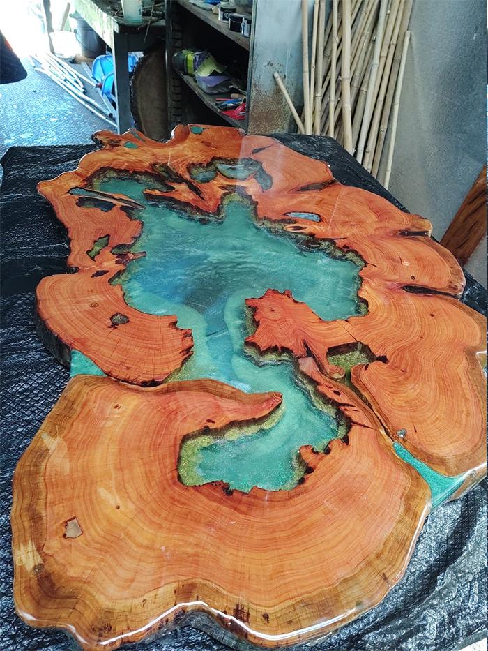 monterey cypress resin tabletop