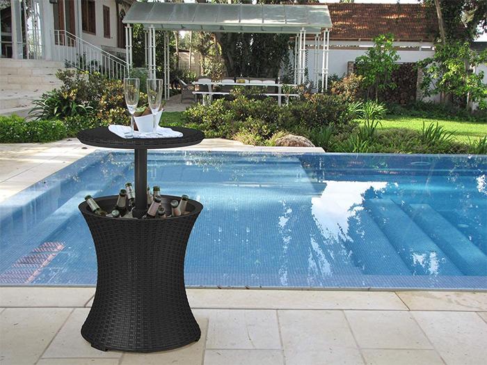 outdoor patio table with hidden cooler