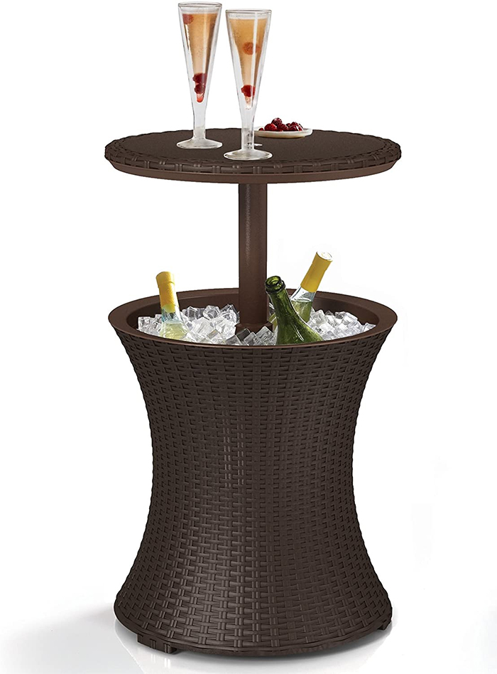 outdoor patio table with wine cooler