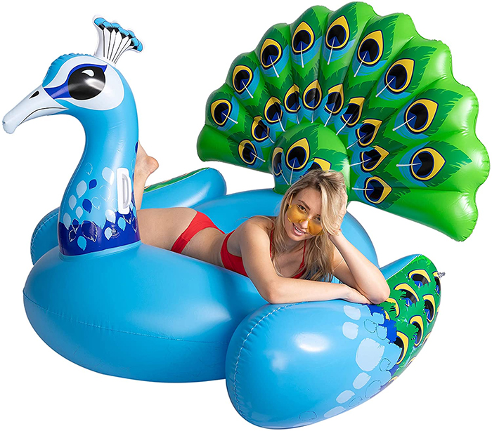 peacock pool float plumage backrest