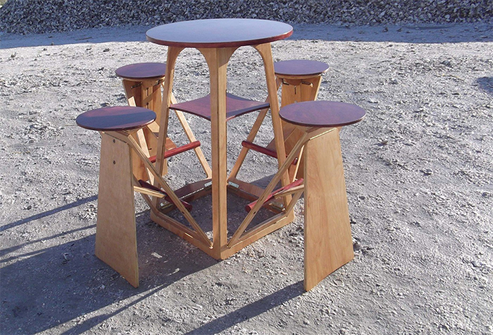 quad micro bar table expandable stools