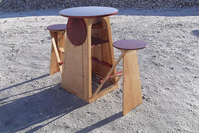 quad micro bar table hidden stools