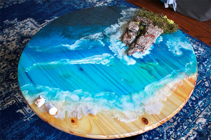 resin ocean coffee table round