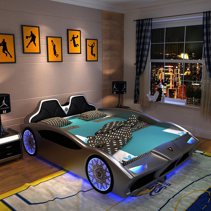 silver supercar bed for grownups
