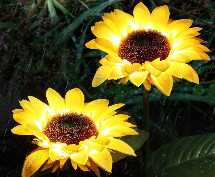 solar powered sunflower lights waterproof