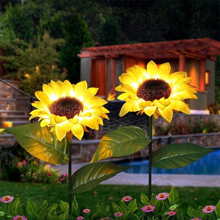 solar powered sunflower lights