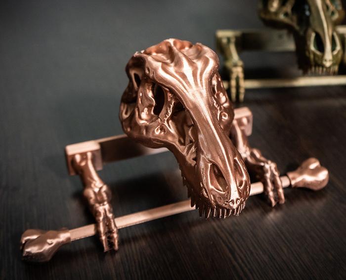 t-rex skeleton toilet paper holder copper