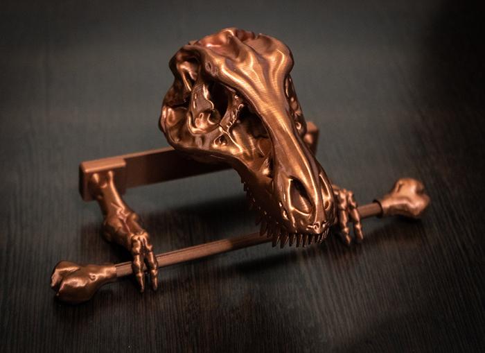 t-rex skeleton toilet paper holder dark copper