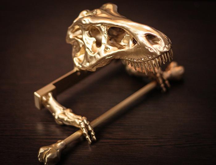 t-rex skeleton toilet paper holder gold