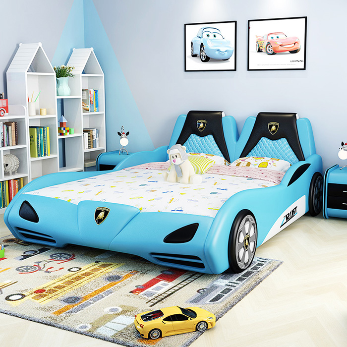 teal supercar bed for grownups