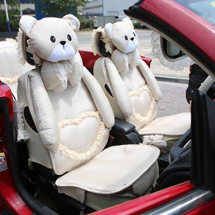 teddy bear decorative seat covers beige