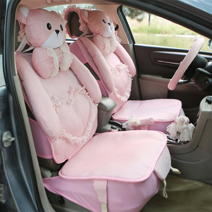 teddy bear decorative seat covers pink