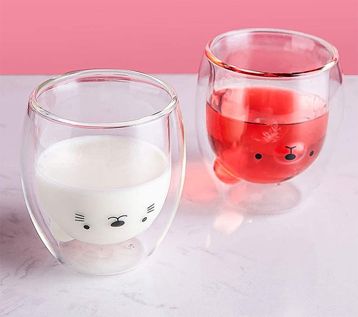 upside down bear mug clear glass